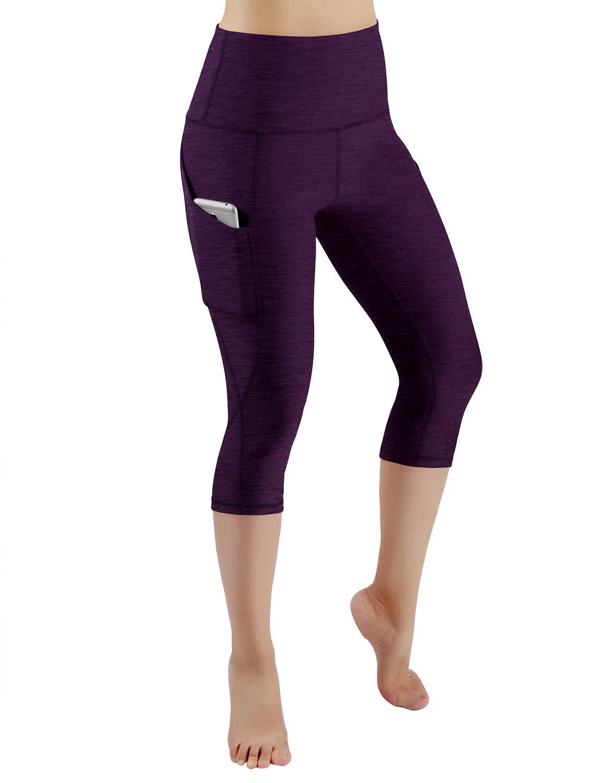ODODOS High Waist Out Pocket Yoga Capris Pants Tummy Control Workout Running 4 Way Stretch Yoga Leggings,DeepPurple,X-Small by ODODOS (Image #2)