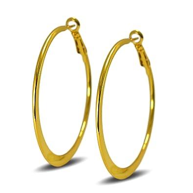 Blue Diamond Club - Medium 50mm 18ct Gold Filled Hoop Earrings Womens Creole Uta1ejNp