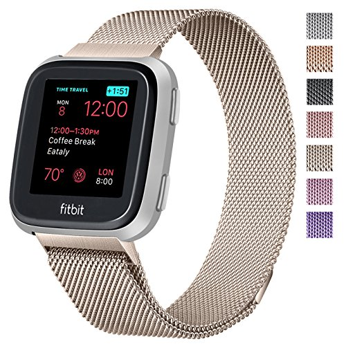Hotodeal Compatible Fitbit Versa Bands Women Men Small Large, Replacement Bracelet Strap Milanese Loop Stainless Steel Metal Mesh Accessories Wristbands Magnet -