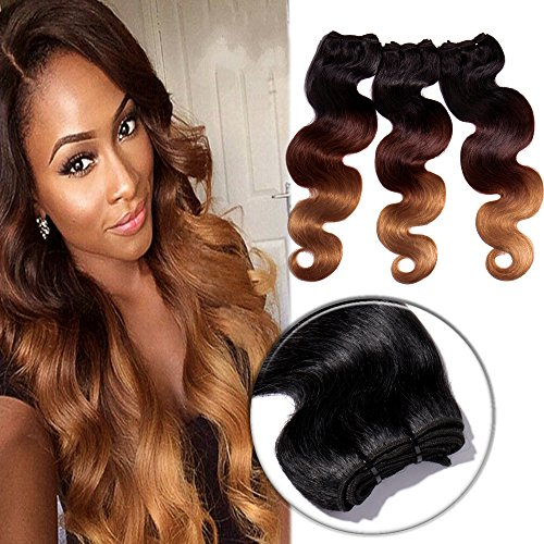 - 16 Inch Body Wave Hair 1 Bundle 100% Brazilian Remy Human Hair Sew in Hair Extensions 100g Ombre 3 Tones Hair Weave #1B/27/33 Natural Black to Honey Blonde to Dark Auburn