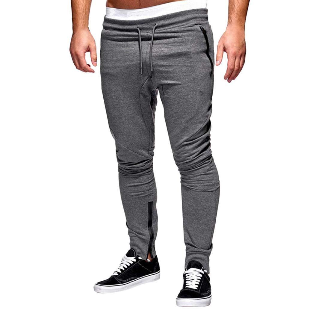 NREALY Pants Men's Fashion Zipper Patchwork String Cotton Casual Sweatpants Drawstring Pant(L, Dark Gray)