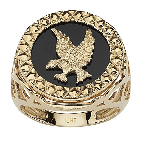 Men's Round Genuine Onyx 10k Yellow Gold Diamond-Cut Eagle Ring Size 9