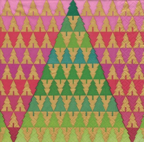 Zig Zag Tree Decoration - Entertaining with Caspari Luncheon Napkins, Zig Zag Trees, Pack of 20