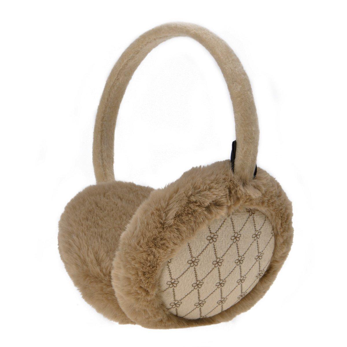 ZLYC Women Fashion Print Faux Fur Ear Warmers Winter Outdoor Earmuffs, Red ZYJ-ET-014-RD