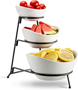 3 Tier Oval Bowl Set with Metal Rack,HabiLife Three Ceramic Fruit Bowl Serving - Tiered Serving Stand - Dessert Appetizer Cake Candy Chip Dip (Black)