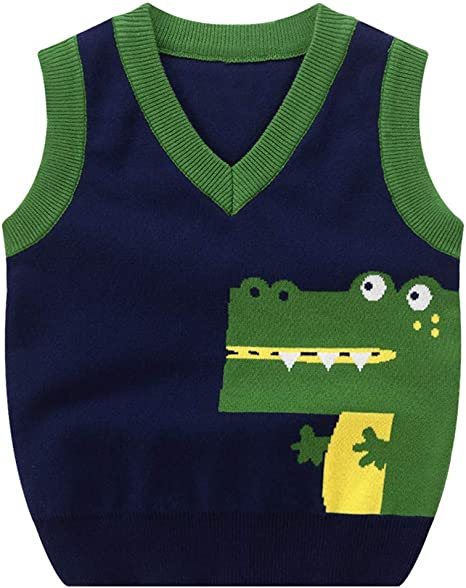 Mud Kingdom Little Boys Uniform Sweater Vest V-Neck Cable Knit School