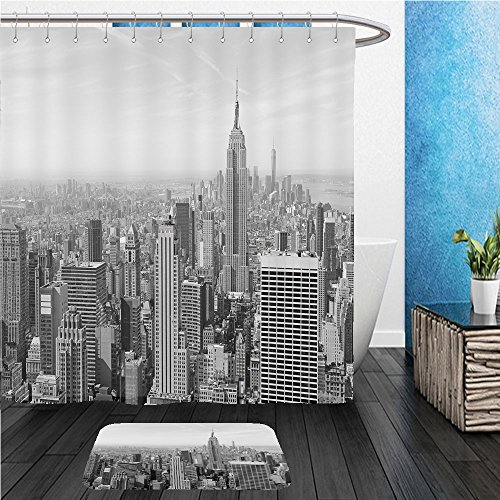 Beshowereb Bath Suit: ShowerCurtian & Doormat cityscape of skyscrapers and buildings with manhattan skyline in new york city - Macys Manhattan