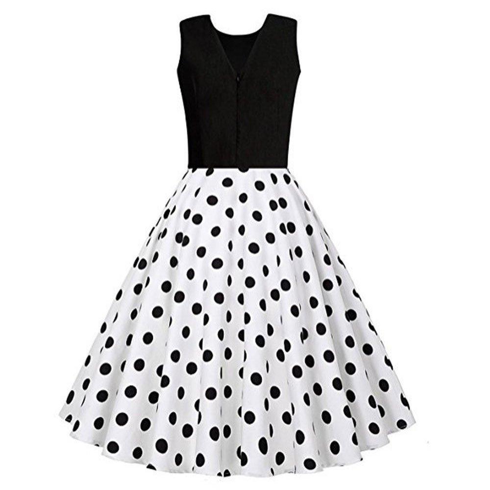 MISSWongg Damen Kleider ärmelloses Drucken Kleid mit Vintage
