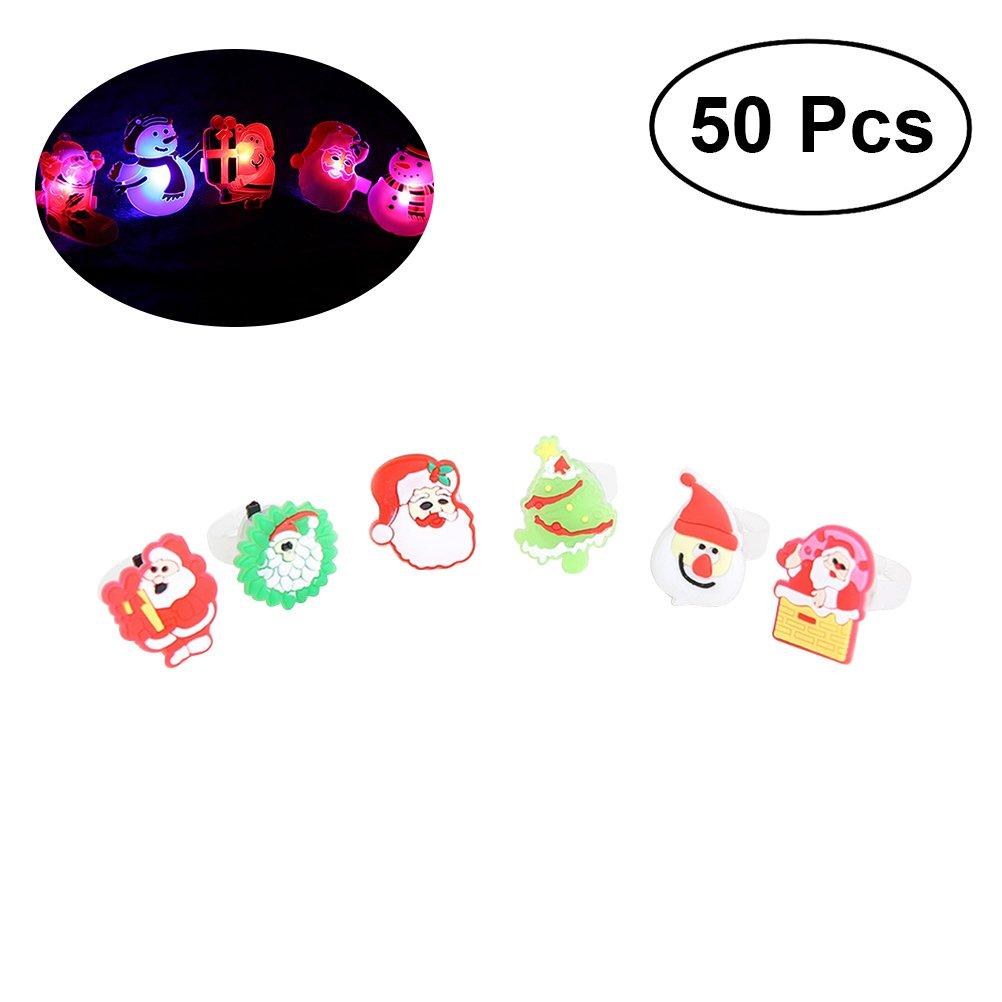 LEDMOMO Luz de Navidad Anillo LED Luces de Dedo Juguetes Favores de Fiesta Luces para Niños y Adultos (50 piezas) [Clase de eficiencia energética A+]