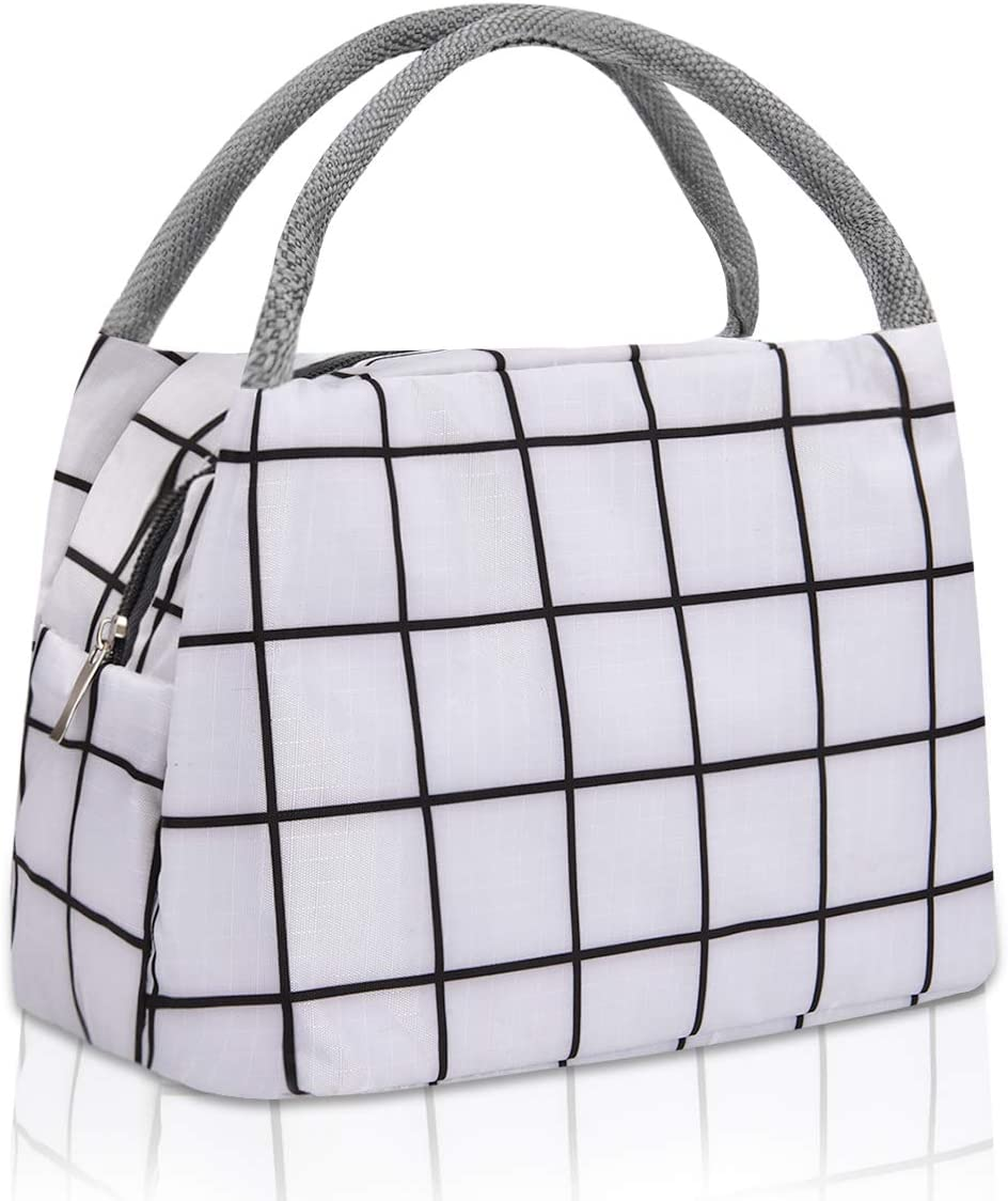 Portable Lunch Tote Bags for Women Men Waterproof Lunch Bag Reusable Lunch Tote Insulated Lunch Bag Cooler Bag for Work School Office Outdoors Picnic, White plaid