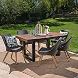 Cheap Great Deal Furniture Danae Outdoor 7 Piece Multibrown Wicker Dining Set with Antique Teak Finish Light Weight Concrete Table