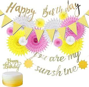 Juego de Abanicos de Papel de Cumpleaños de Deco Collar de Banderines de Fiesta de Cumpleaños Happy Birthday Banner Torta Toppers (Rosa/Oro): Amazon.es: Hogar