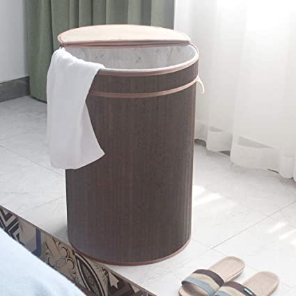 hanshoo Laundry Hamper Bamboo Laundry Basket with Lid 48L Dirty Clothes Storage Baskets Foldable Round(Dark Brown, M)