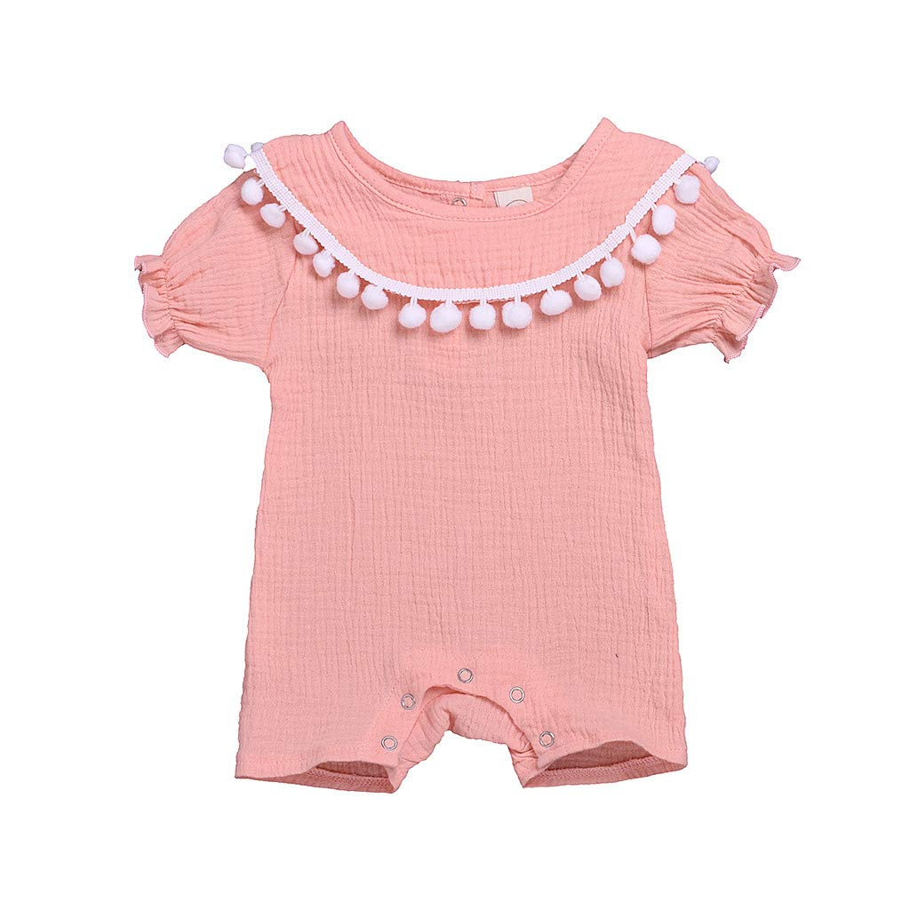 Toddler Kids Baby Girl Ruffled Tassels Pompon Romper Jumpsuit Playsuit Sunsuit