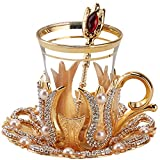 (Set of 6) Turkish Tea Glasses Set with Saucers Holders Spoons, Decorated with Swarovski Type Crystals and Pearl,24 Pcs (Gold)
