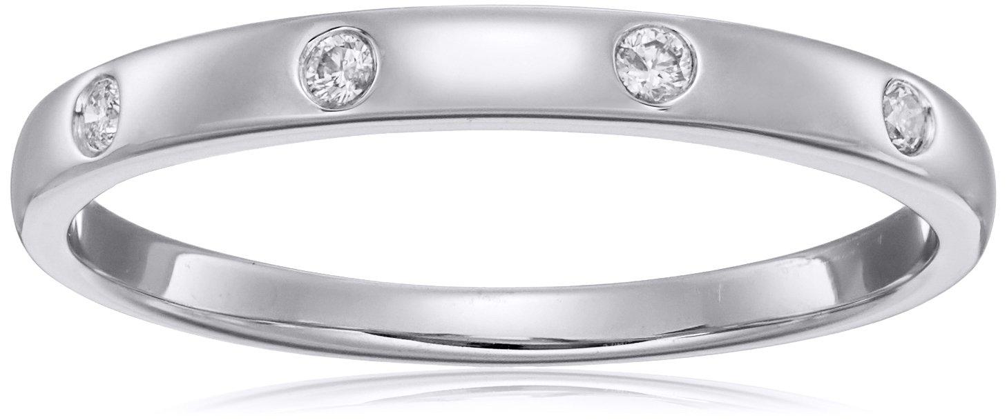 10k White Gold Diamond Ring, Size 7.5