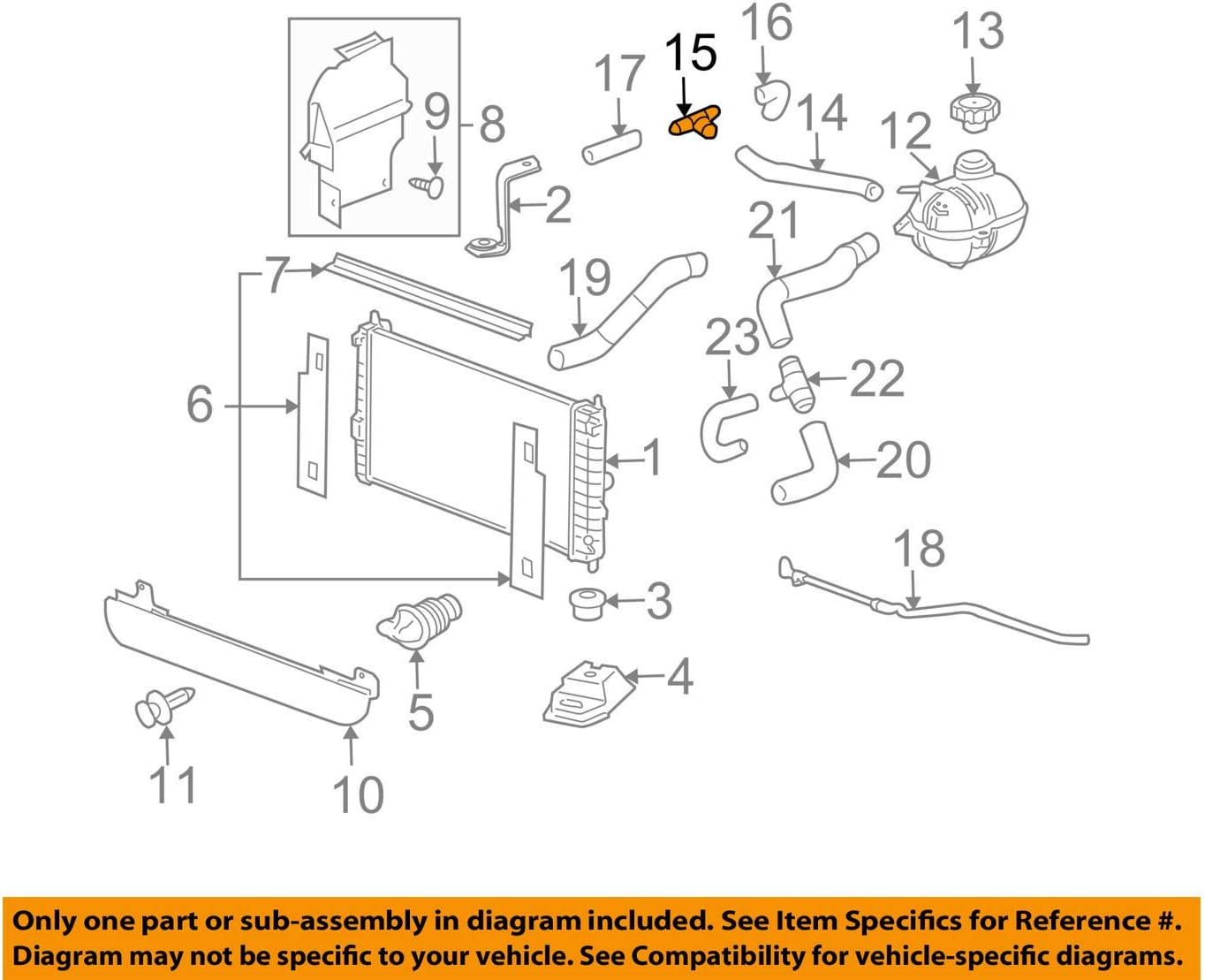 Genuine GM 15982138 Auxiliary Heater Outlet Hose Tee Connector