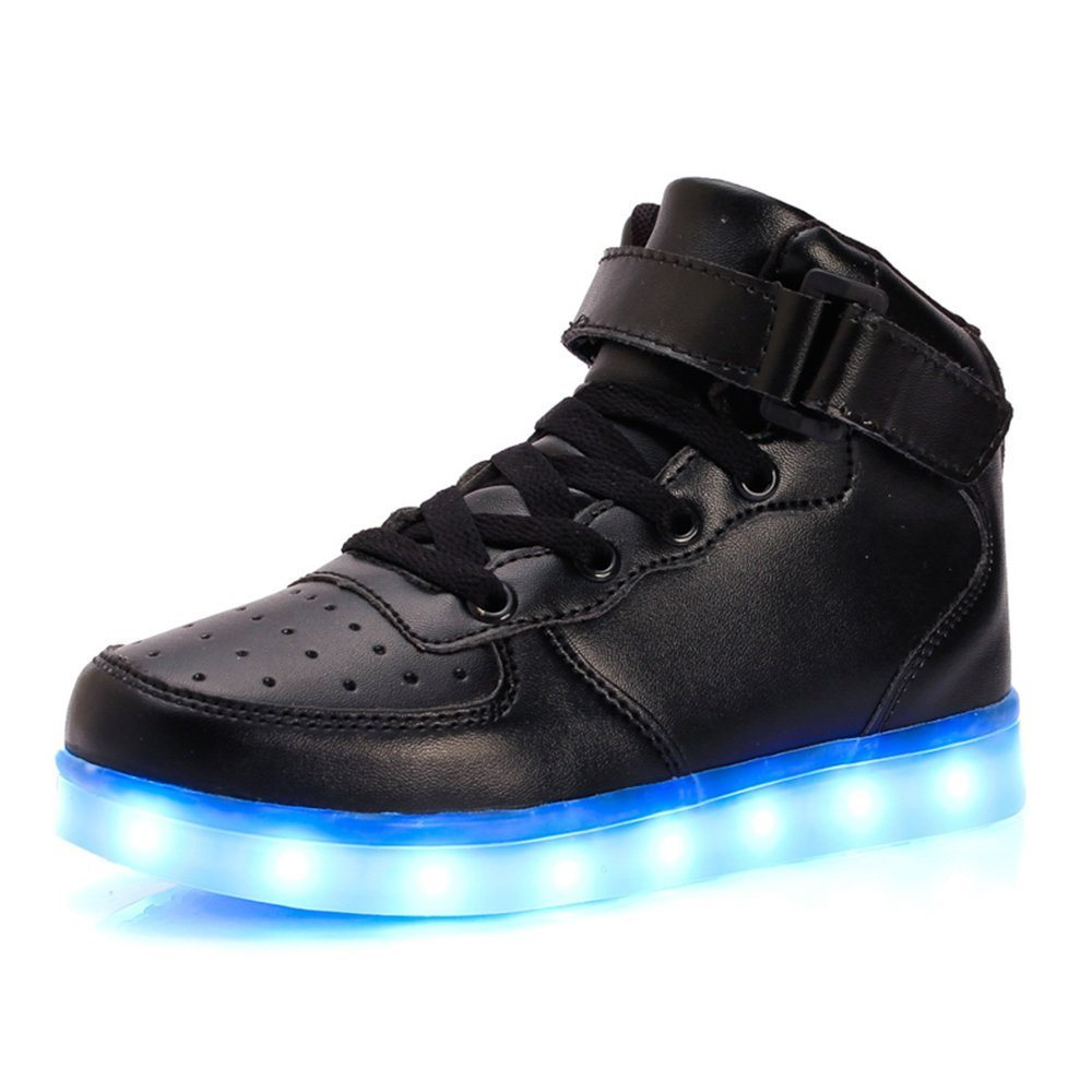 11 Colors LED Light Up Shoes Boys Girls High Top Flashing Sneakers for Christmas(Black 1.5 M US Little Kid)