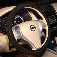 Bling Steering Wheel Cover Black for Women Car, 15 Inch Universal with Black Crystal Rhinestone Diamond Cool Bling…