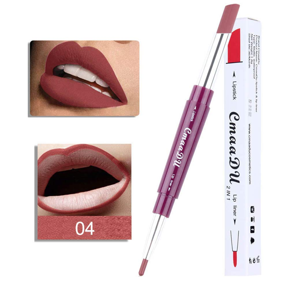 Pu Ran Women's Fashion Long Last Dual Head Lip Liner Matte Lip Lipstick Pencil Makeup - 5#