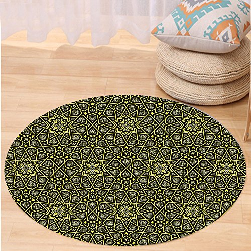 VROSELV Custom carpetArabesque Middle Eastern Islamic Ornamental Geometrical Shapes Moroccan Artful Image for Bedroom Living Room Dorm Yellow Black Round 79 inches by VROSELV