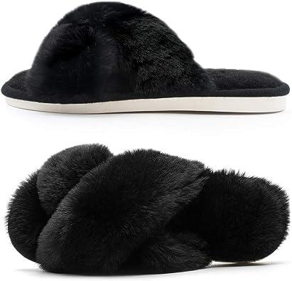 Women Plush Fleece Soft Fuzzy Slippers Memory Foam Lightweight Warm House Spa Outdoor//Indoor X Slippers
