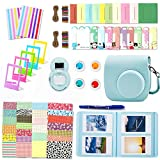 Leebotree Ice Blue Camera Accessories Compatible with Fujifilm Instax Mini 9 or Mini 8 8+ Include Case/Album/Selfie Lens/Filters/Wall Hang Frames/Film Frames/Border Stickers/Corner Stickers/Pen