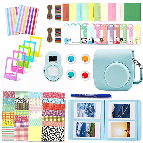Leebotree Camera Accessories Compatible with Fujifilm Instax Mini 9 or Mini 8 8+ Include Case/Album/Selfie Lens/Filters/Wall Hang Frames/Film Frames/Border Stickers/Corner Stickers/Pen (Ice Blue)