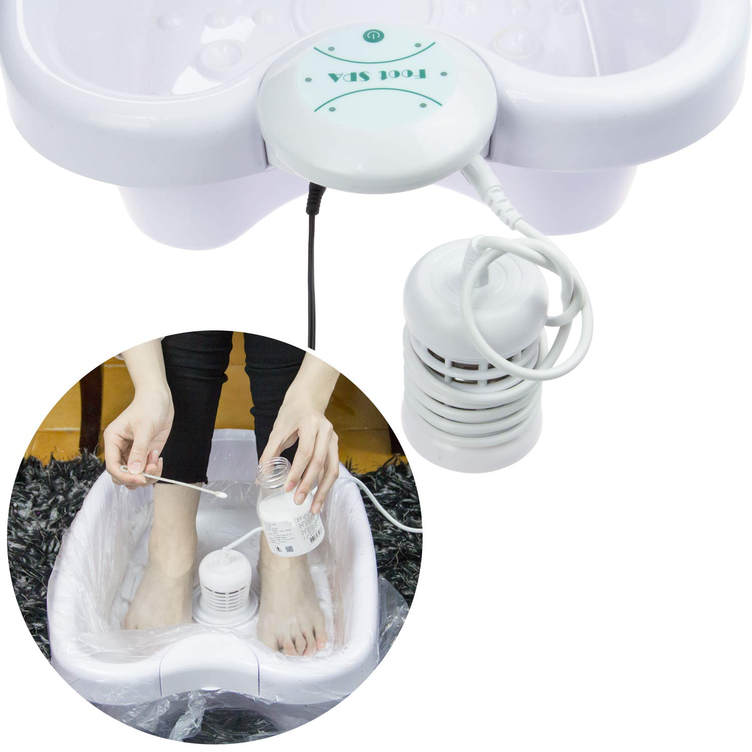 Ionic Detox Foot Bath, Detox Foot Spa Foot Detox Machine with Foot Basin for Home Use Beauty Salon Spa Club or As Holiday Travel Gift(2 White Arrays): Beauty