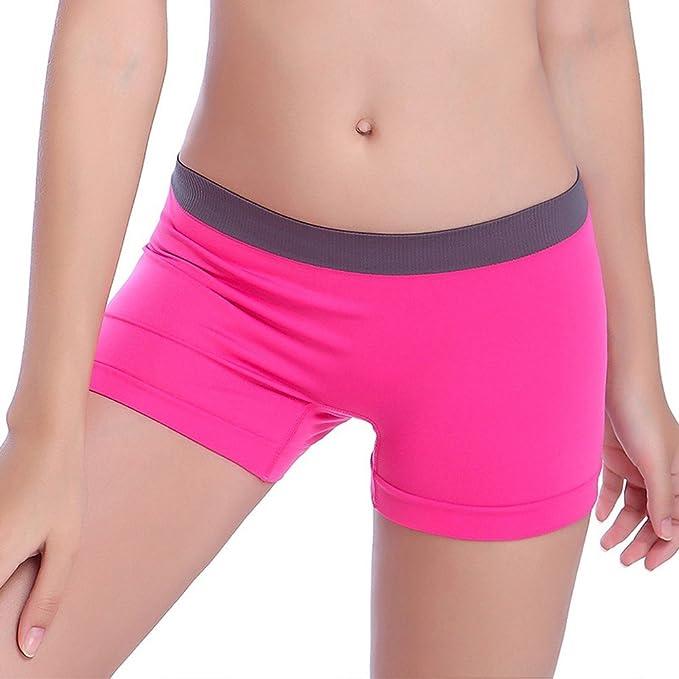 VPASS Mujer Pantalones Cortos Yoga elásticos Color sólido Secado rapido Pantalones Deportes de Fitness Mayas Gym Pantalones Transpirables Pantalones ...