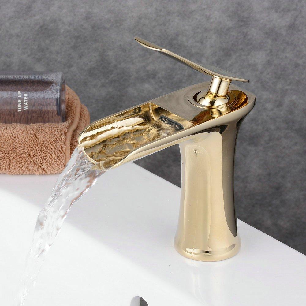 Beelee Single Handle Single Hole Waterfall Bathroom Sink Faucet ...