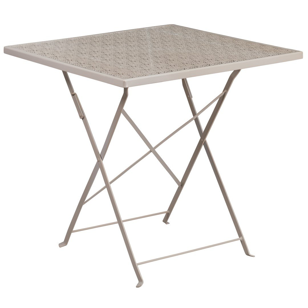 MFO 28'' Square Light Gray Indoor-Outdoor Steel Folding Patio Table