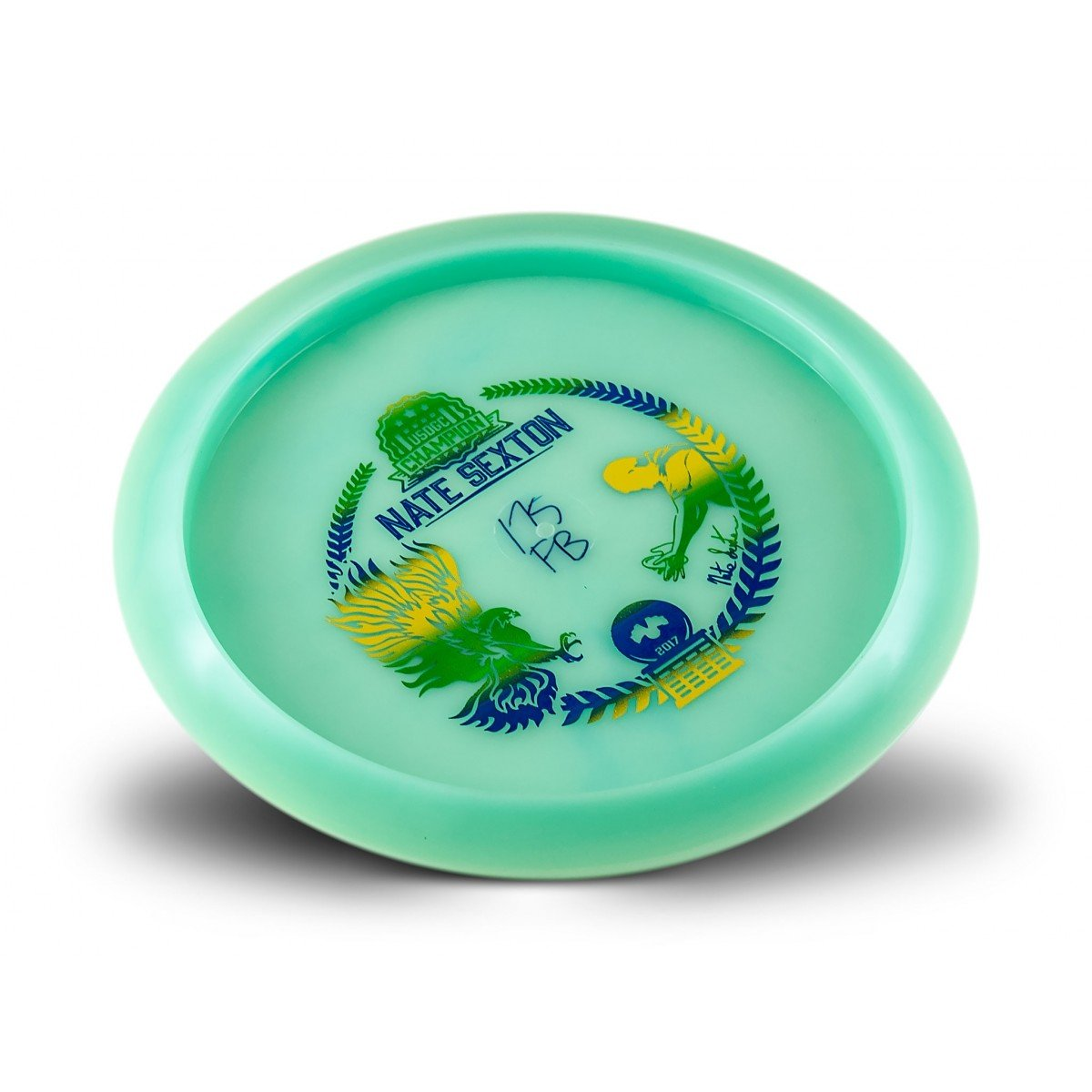 Innova Limited Edition Champion Glow Firebird Nate Sexton 2017 Commemorative Overstable Disc Golf Distance Driver (Color may vary) (Green/Blue/Yellow) by Innova