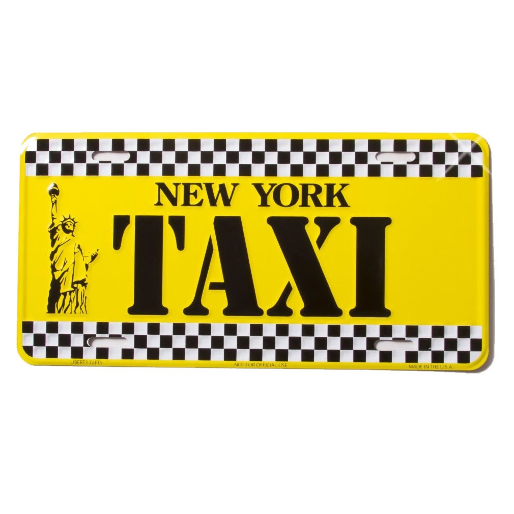 New York License Plate NY Yellow Cab Taxi Plate NYC Metal Statue of Liberty Plate NYC Plate Souvenir NY License Plates Decor Decoration New York Taxi
