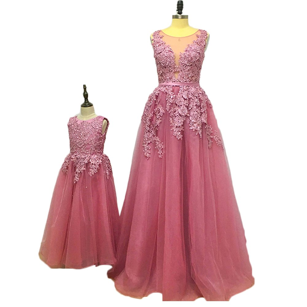 Jdress Elegant Lace Mother And Daughter Dresses For Wedding Beaded