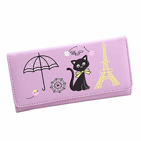 Ouneed Fashion Cat Torre Monedero cartera tarjeta bolso de mano soportes para las niñas morado Size