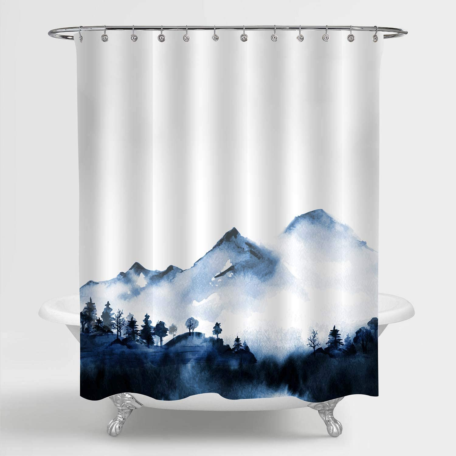 """MitoVilla Foggy Mountain Forest Scenic Shower Curtain for Bathroom Decor, Asian Foggy Mountain Peaks Nature Landscape Bathroom Accessories for Japanese and Chinese Themed Home, Blue, 72"""" W x 72"""" L"""