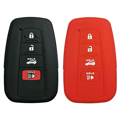 Coolbestda 2Pcs Rubber 4buttons Key Fob Protector Case Keyless Entry Holder Cover Skin Jacket for 2020 Toyota Camry C-HR Prius HYQ14FBC Black Red: Automotive
