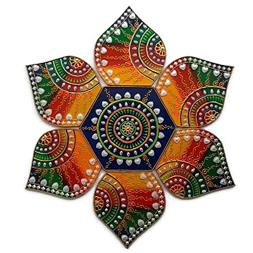 (Decorative Plaques - Multi Design Wooden Rangoli for Diwali or Christmas Decoration - 7 Piece Wall, Floor or Table Decoration)