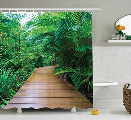 Ambesonne Outdoor Shower Curtain Nature Decor, Deck Timber Jetty Exotic Getaway Wilderness Footpath Tropic Plants Rainforest Picture, Polyester Fabric Bathroom Set with Hooks, Green Ivory ()