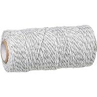 SiAura Material ® - 92m koord van katoen, 1,5 mm dik, grijs - wit gestreept