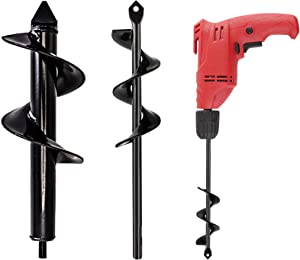 "2 Set Auger Drill Bit for Planting, 1.6'' x 9''& 3.2'' x 9'' Garden Auger Spiral Drill Bit, Garden Drill Planter Umbrella Hole Digger for 3/8"" Hex Drive Drill"