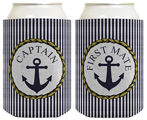 Couple's Sailing Gift Can Coolie Captain and First Mate Nautical Anchor Coastal Themed 2 Pack Can Coolie Drink Coolers Coolies Premium Full Color
