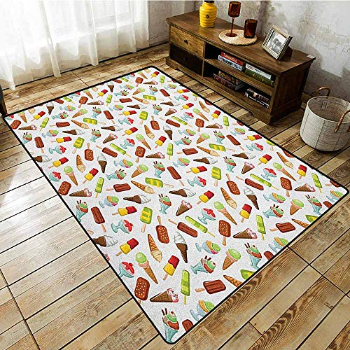 Kids Rug,Ice Cream,Frozen Desserts in Wafer Cone Glazed Eskimo with Whipped Cream Chocolate Sundae,Ideal Gift for Children,4'7