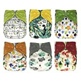 EcoAble Baby One Size Cloth Diapers Lot with Bamboo Inserts, All In One AIO, 6 Pack Bundle Set (Unisex)