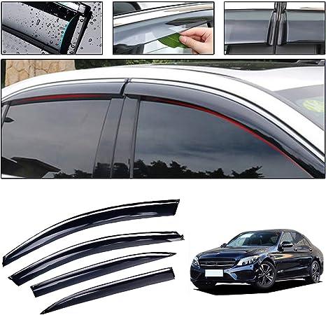 Saitake Windabweiser Für Mercedes Benz C Class 2015 2017 Autofenster Visier Sonne Regen Rauchabzug Schatten Klebeband Außenvisiere Auto