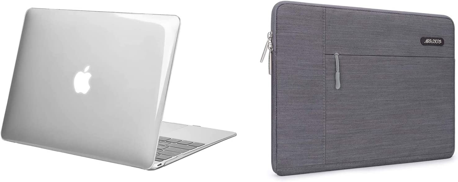 MOSISO Plastic Hard Shell Case & Denim Sleeve Bag Compatible with MacBook 12 inch with Retina Display (Model A1534, Release 2017 2016 2015)