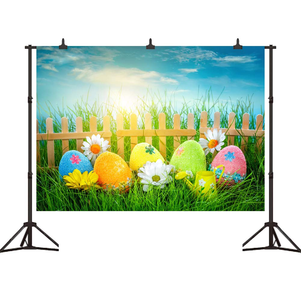 Amazon Com Easter Photo Backdrop Decorated Eggs Backgrounds For