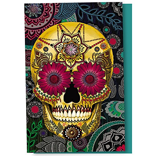 Tree-Free Greetings EcoNotes 12 Count Sugar Skull Paisley All Occasion Notecard Set with Envelopes, 4 x 6 Inches (FS56287)