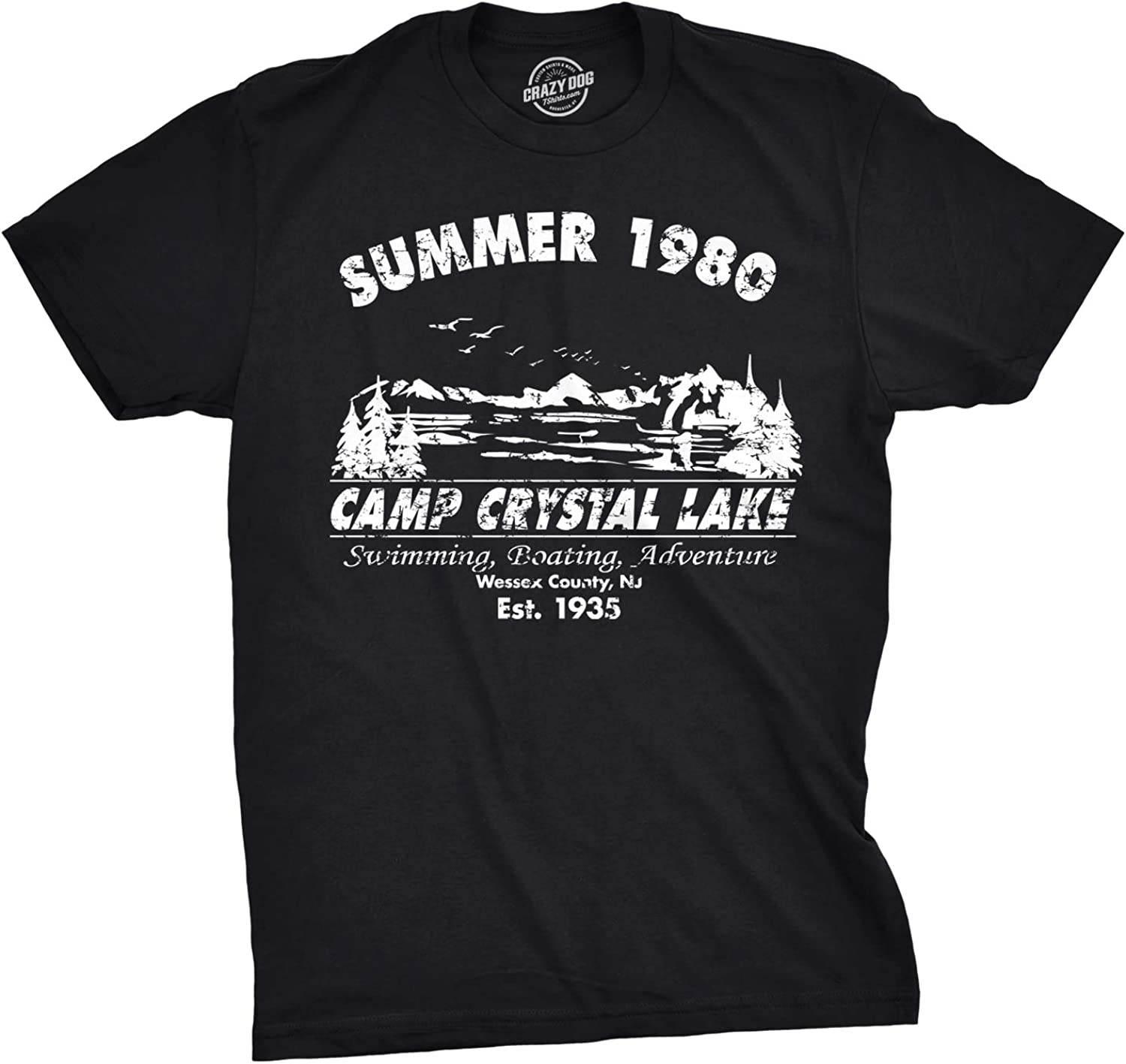 Mens Summer 1980 Men Funny T Shirt Graphic Camping Vintage Cool 80s Novelty Tees
